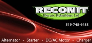 Reconit Electric Rebuilders Ltd for repairs to car alternator, starter motor, snow plow DC pump and Battery charger.  Kitchener starter area.